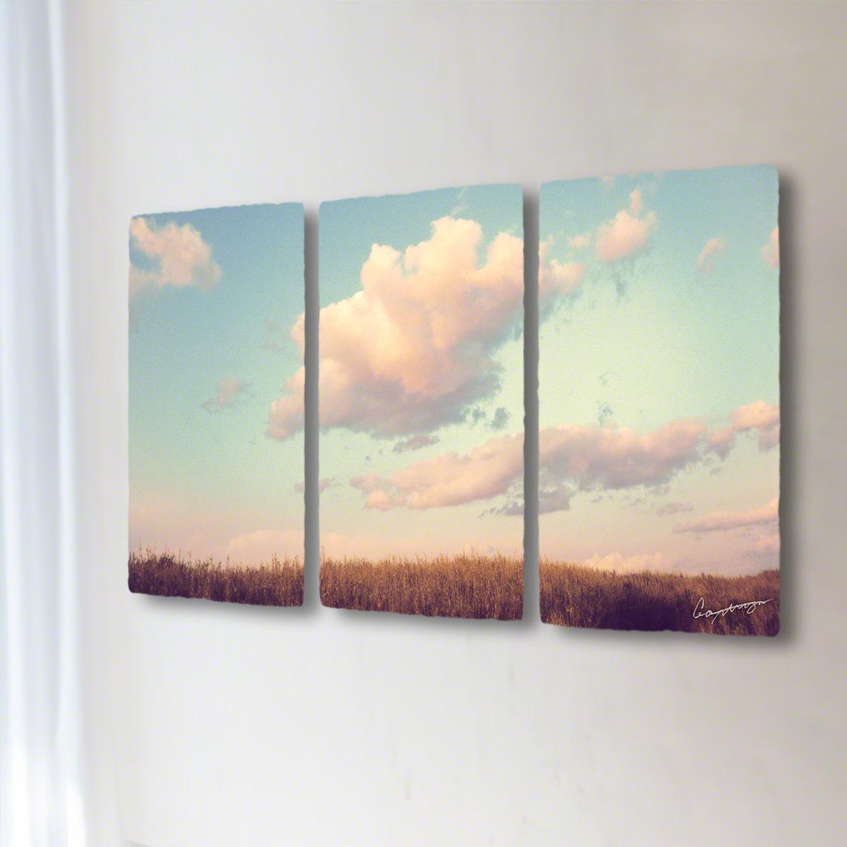 和紙 手作り アートパネル 3枚続き 「葺原に浮かぶ夕暮れ雲」(128x72cm) 絵画 絵 ポスター 壁掛け モダン アート 和風 オリジナル インテリア 風景画 ランキング おすすめ おしゃれ 人気 キッチン リビング ダイニング 玄関 和室