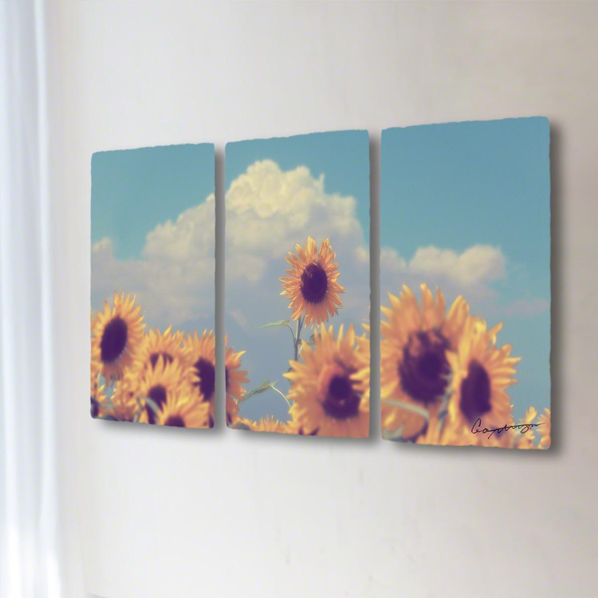 和紙 手作り アートパネル 3枚続き 「入道雲と顔を出したヒマワリの花」(128x72cm) 絵画 絵 ポスター 壁掛け モダン アート 和風 オリジナル インテリア 風景画 ランキング おすすめ おしゃれ 人気 キッチン リビング ダイニング 玄関 和室