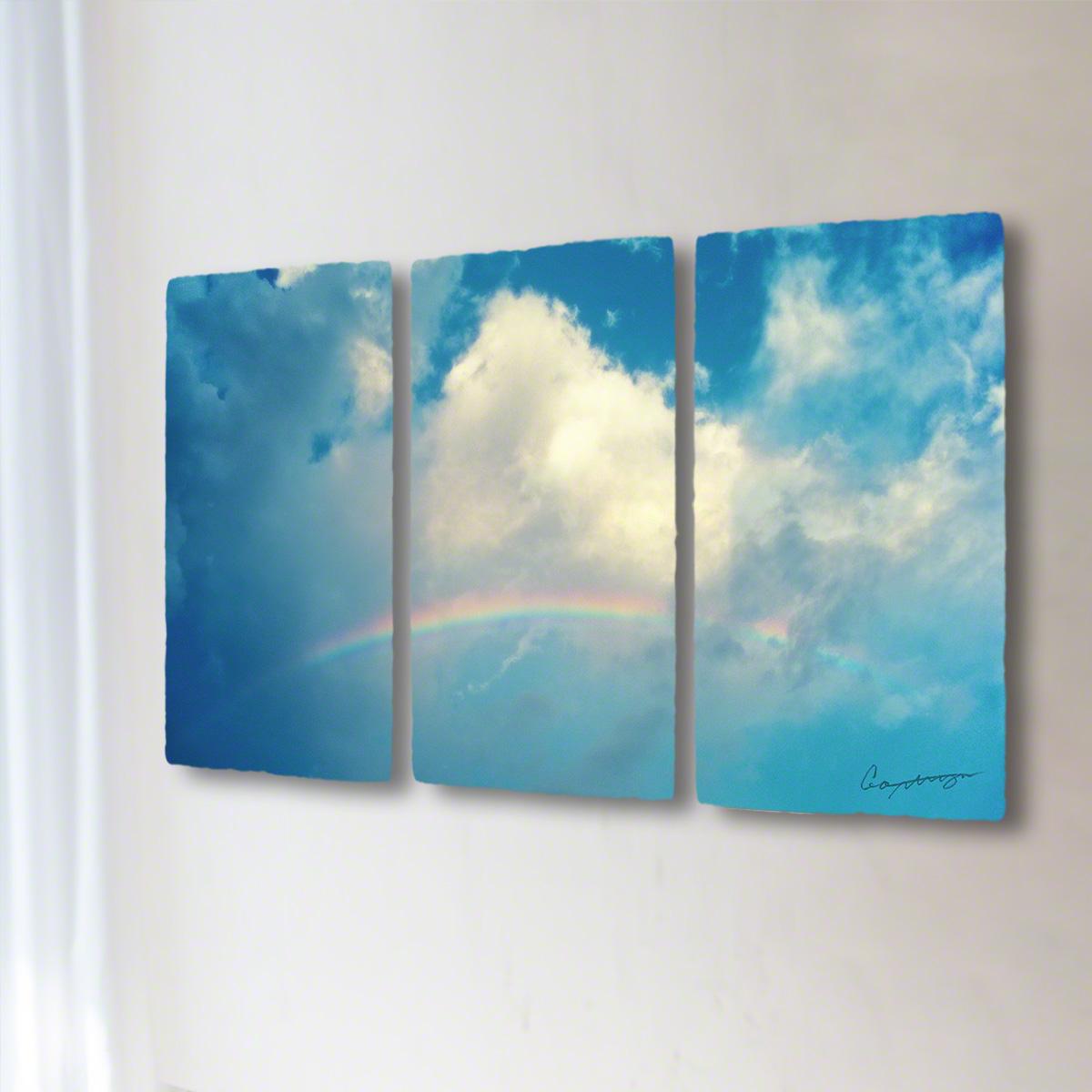 和紙 手作り アートパネル 3枚続き 「虹と入道雲」(128x72cm) 絵画 絵 ポスター 壁掛け モダン アート 和風 オリジナル インテリア 風景画 ランキング おすすめ おしゃれ 人気 キッチン リビング ダイニング 玄関 和室