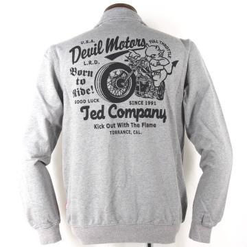 エフ商会【TEDMAN'S テッドマン】ジップ ジャケット〔TED MOTORS バイク プリント〕TDSZ-146、黒・グレー、M~XXL、バイカー・アメカジ、2017-18年秋冬モデル