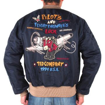 【TEDMAN'S テッドマン】MA-1 ジャケット〔ミリタリー RED DEVIL ワッペン 刺繍〕TMA-510、ネイビー・カモフラ、M~XXL、エフ商会、バイカー・アメカジ、2018年秋冬モデル