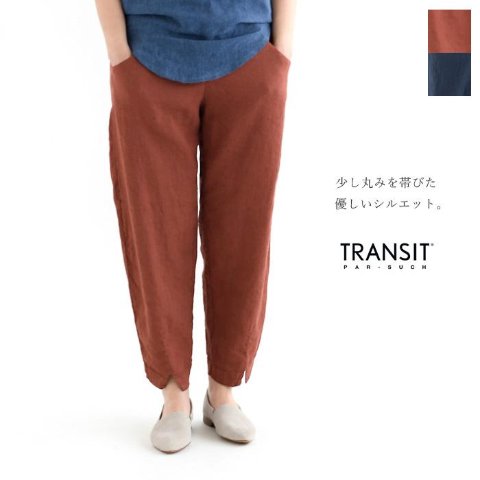 <ウインターセール>TRANSIT PAR SUCH トランジットパーサッチリネンレーヨンストレッチ裾スリットパンツ《メール便不可》【AP】(91TT-H-D-135)(2019143)0.3