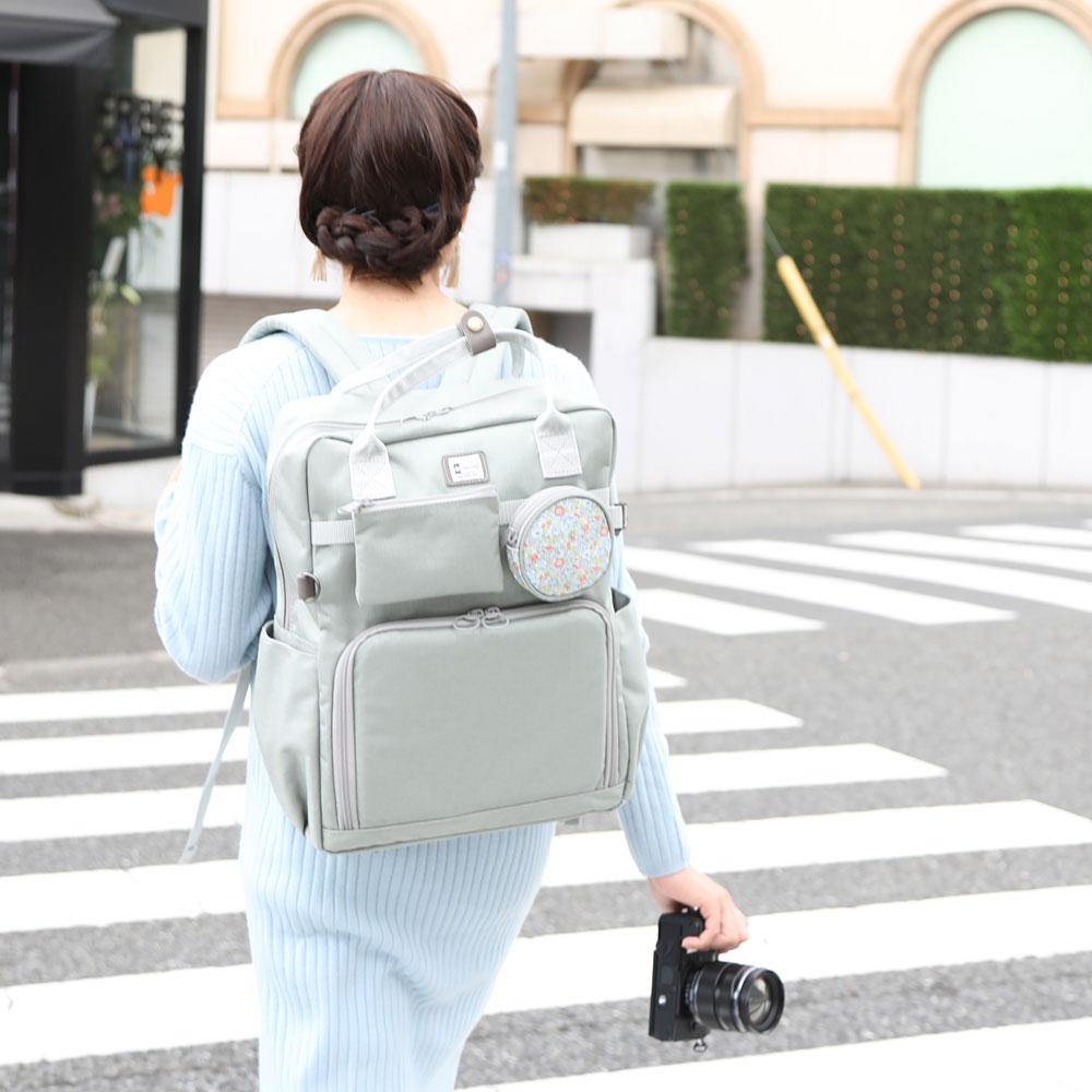 照相機包單反camera bag照相機帆布背包MI-NA mina漂亮的廣場帆布背包/★Liberty×CORDURA★Gray、Claire-Aude灰色·Crea頌歌