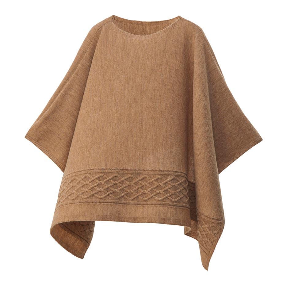 【ニットポンチョmino】winter yoko wool &cashmere キャメル フリーサイズ ウール&カシミヤ / 横方向にスリットを入れた、かぶるタイプのポンチョです。[送料無料]