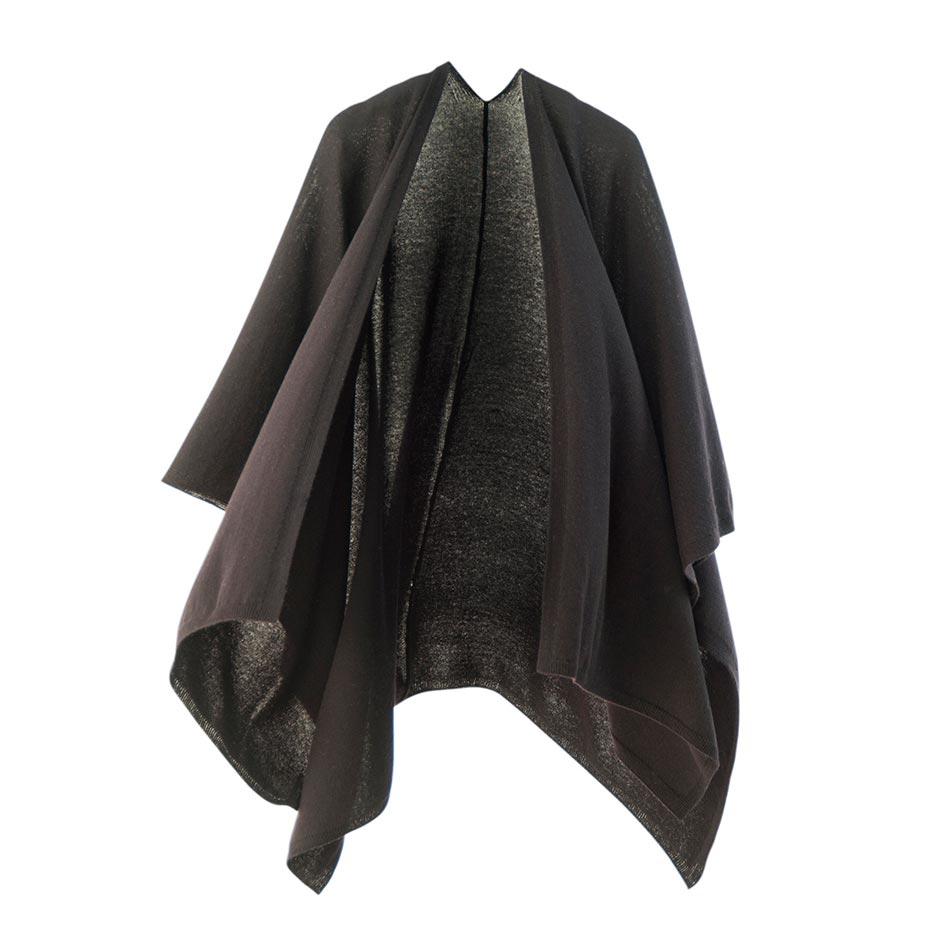 【ニットポンチョmino】winter tate wool ブラック フリーサイズ ウール / 縦にスリットを入れた羽織タイプのポンチョです。[送料無料]