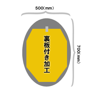オーバル500×700(mm)サイズミラー裏板付き加工