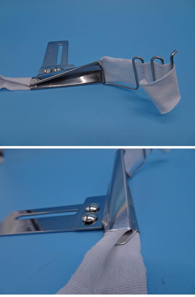 各メーカーピコミシン取り付け2つ折りズラシ型ラッパ「例、31mmx13.5mm関西スペシャルピコミシン モデルNO-DPW-1302型」 縫製予定のテープ3mを弊社にお送りくださいそれに合わせて制作します。