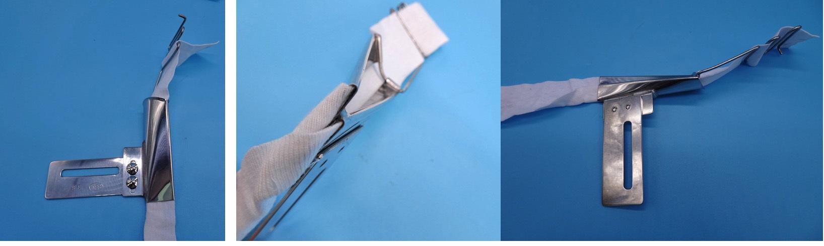 各メーカーピコミシン取り付け2つ折りラッパ「例、36mmx22mm関西スペシャルピコミシン モデルNO-DPW-1302型」 縫製予定のテープ3mを弊社にお送りくださいそれに合わせて制作します。