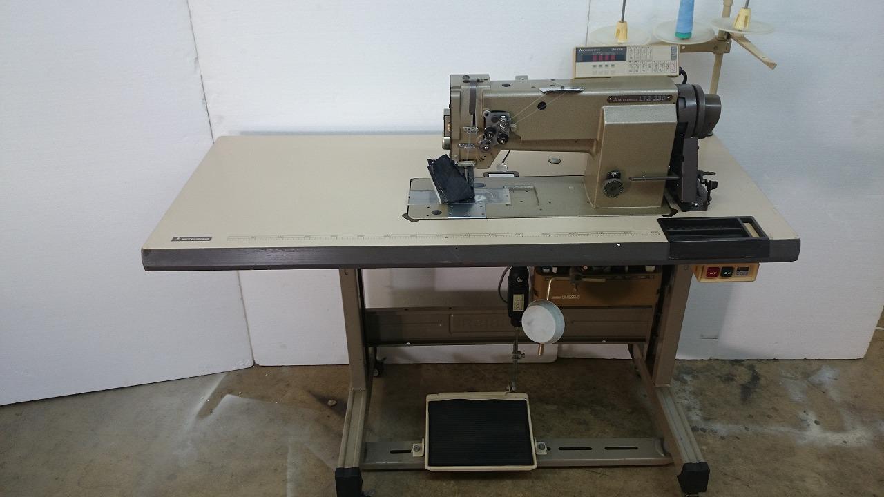 【中古】三菱2本針本縫い自動糸切装置付きミシン。針幅19mm モデルNO-LT2-230型 200V仕様 MITSUBISHI ミツビシ