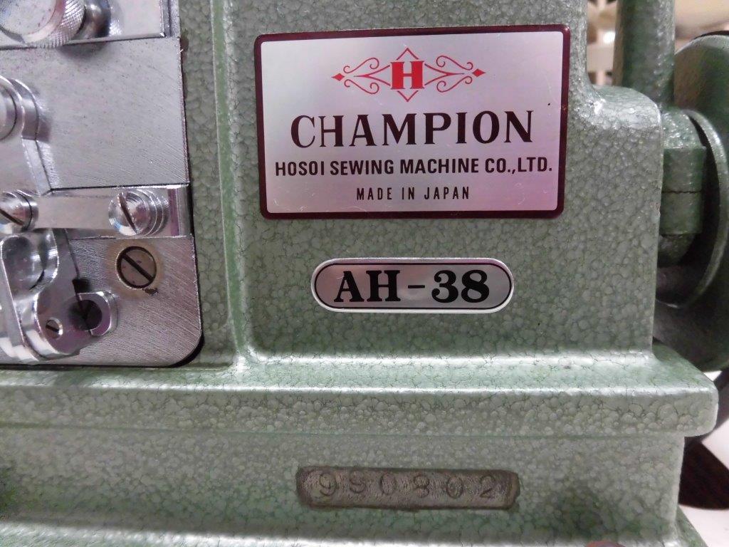 【中古】日本製 チャンピョン ミシンモデルNO-AH-38型 「ミシン頭部のみです。テーブル・脚・モーターは別お見積りとなります。」 大ハマグリ縫いミシン。弊社にて整備済。新品と同じく6か月の保障付き。程度が非常に良いです。