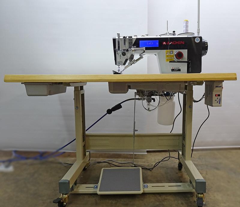 SSMーJC-G4H型 鳥の巣防止自動糸切ミシン厚物・大釜・太糸用仕様。「下記の写真のぬい見本の糸はビニモの8番です。素材は合皮の4枚重ね。」200V仕様「100V仕様は、¥427,000-税送料別」