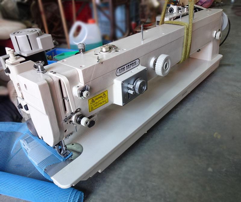上下送りミシン1本針4点千鳥 モデルNO SSM-CW-1238 型頭部のみ 先引きプーラー装置・テーブル・脚・モーターは別お見積りとなります。別注制作ロングアーム上下送り機構千鳥ミシン 懐900mm