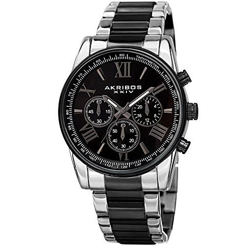 アクリボス Akribos XXIV 男性用 腕時計 メンズ ウォッチ クロノグラフ シルバー ブラック AK865TTB 送料無料 【並行輸入品】