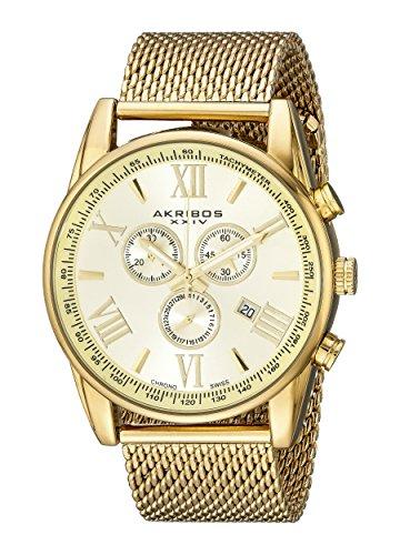 アクリボス Akribos XXIV 男性用 腕時計 メンズ ウォッチ クロノグラフ イエロー ゴールド AK813YG 送料無料 【並行輸入品】