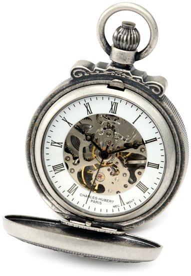 チャールズヒューバート Charles-Hubert, Paris 懐中時計 ポケット ウォッチ ホワイト 3866-S 送料無料 【並行輸入品】