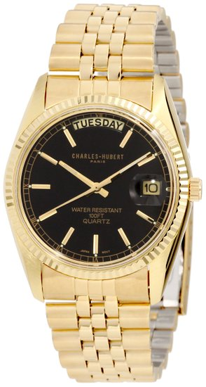 チャールズヒューバート Charles-Hubert, Paris 男性用 腕時計 メンズウォッチ ブラック 3400-OB 送料無料 【並行輸入品】