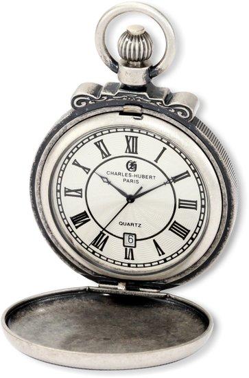 チャールズヒューバート Charles-Hubert, Paris 懐中時計 ポケット ウォッチ ホワイト 3863-S 送料無料 【並行輸入品】
