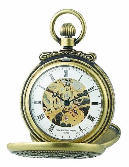 チャールズヒューバート Charles-Hubert, Paris 懐中時計 ポケット ウォッチ ホワイト 3868-G 送料無料 【並行輸入品】