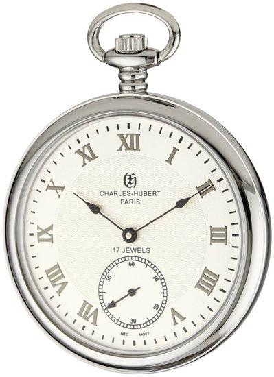 チャールズヒューバート Charles-Hubert, Paris 懐中時計 ポケット ウォッチ ホワイト 3912-W 送料無料 【並行輸入品】