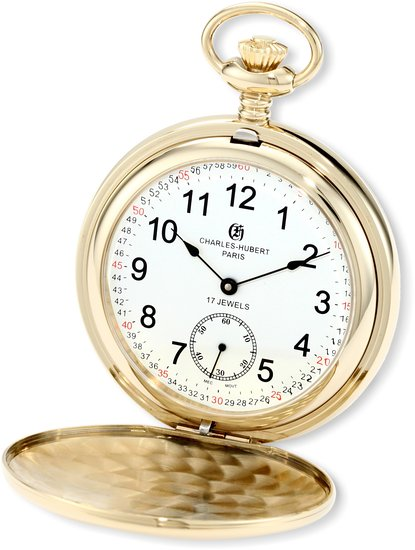 チャールズヒューバート Charles-Hubert, Paris 懐中時計 ポケット ウォッチ ホワイト 3907-GRR 送料無料 【並行輸入品】