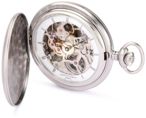 チャールズヒューバート Charles-Hubert, Paris 懐中時計 ポケット ウォッチ ホワイト 3906-W 送料無料 【並行輸入品】