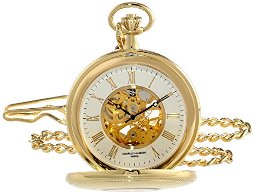 チャールズヒューバート Charles-Hubert, Paris 懐中時計 ポケット ウォッチ ホワイト 3953-G 送料無料 【並行輸入品】