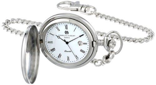 チャールズヒューバート Charles-Hubert, Paris 懐中時計 ポケット ウォッチ ホワイト 3599-W 送料無料 【並行輸入品】