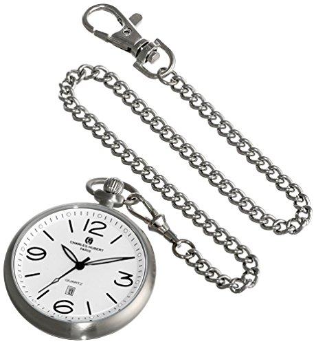 チャールズヒューバート Charles-Hubert, Paris 懐中時計 ポケット ウォッチ ホワイト 3954-W 送料無料 【並行輸入品】