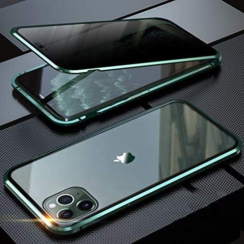 iPhone 11 Pro Max ケース 覗見防止 両面ガラス 対応 360°全面保護 OURJOY iPhone11Pro ミッドナイトグリーン 磁石 アイフォン 耐衝撃 新作 人気 クリア ProMax 国際ブランド マグネット式 バンパー アルミ スマホケース 磁気接続