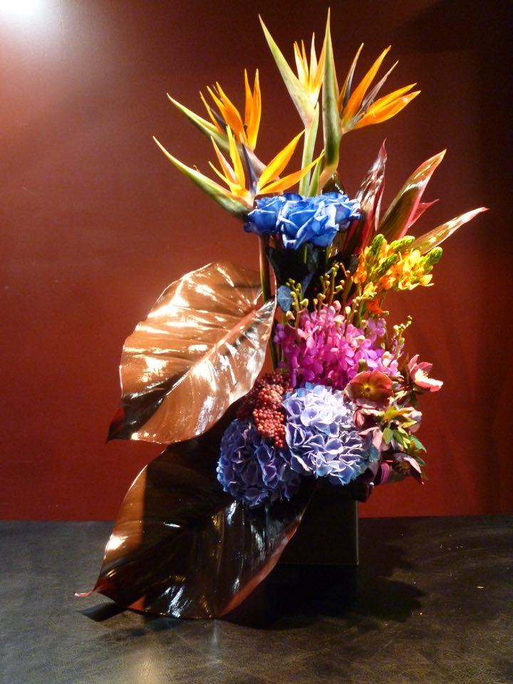 花 ストレチア 青バラ 御祝