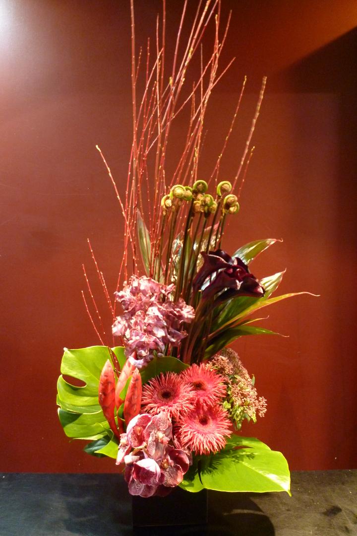 誕生日 期間限定送料無料 父の日 上品 敬老の日 ギフト プレゼント 個性的 珍しい花材 MOBBS HIMEJI ドラセナ カラー ガーベラ モンステラ ゼンマイガマズミ バンダ レッドウィロー 蘭 スイートピー