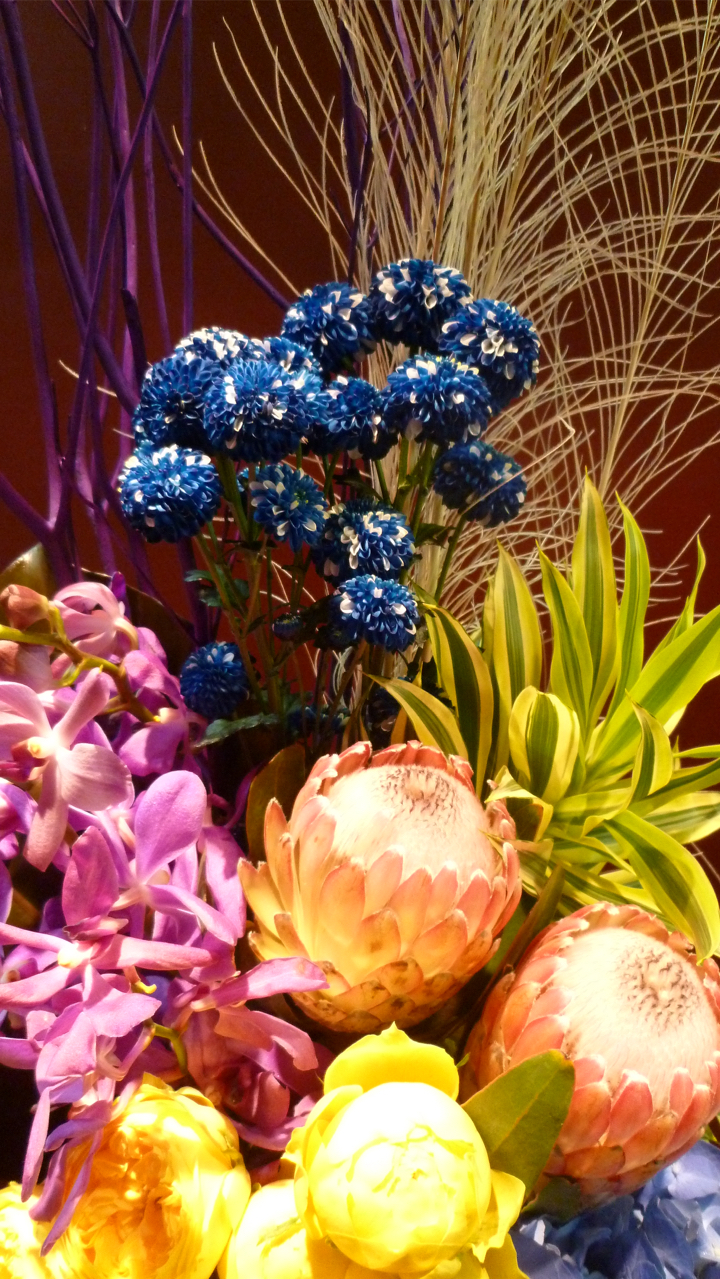 【アレンジメント】珍しい花材 孔雀の羽 プロテア バラ アジサイ 三又 染めモカラ フィロデンドロン ドラセナ 青い菊