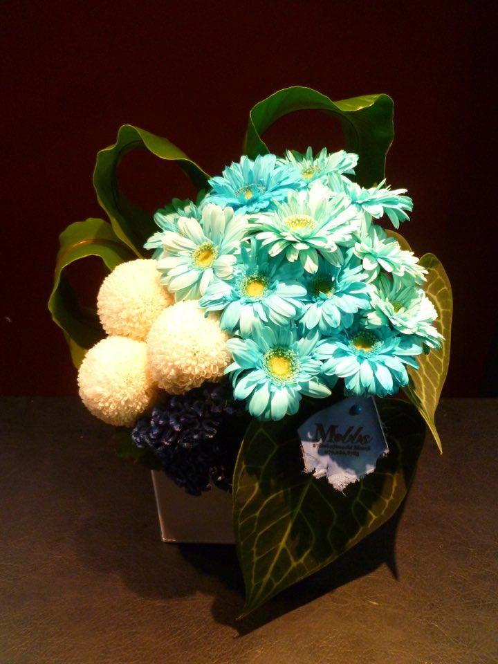 半額 敬老の日 BLUE WHITE でシンプルに Present 贈物 アレンジメントント シロシマウチワ タニワタリ ケイトウ ピンポンマム 水色ガーベラ