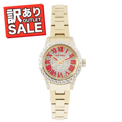 (50%OFF)(半額セール) 訳ありセール わけあり 腕時計 レディース スワロフスキー フェイスアワード Grace-P ステンレス レッド