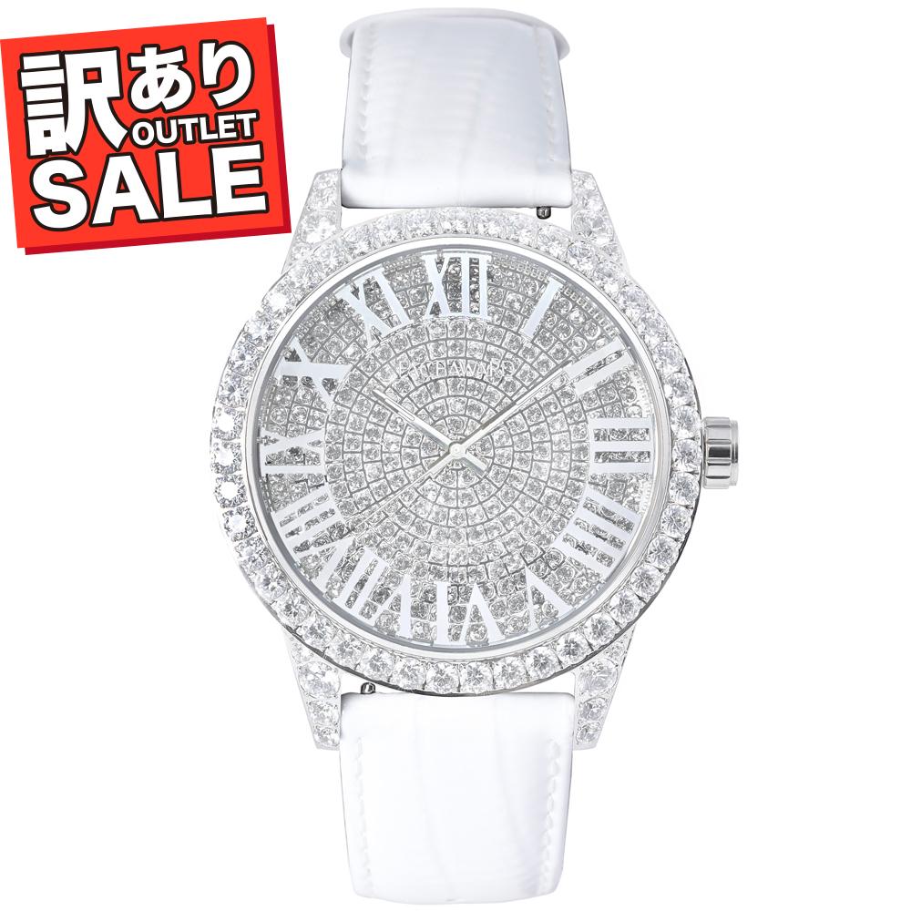 (50%OFF)(半額セール) 訳ありセール わけあり 腕時計 レディース スワロフスキー フェイスアワード Grace ステンレス ホワイト