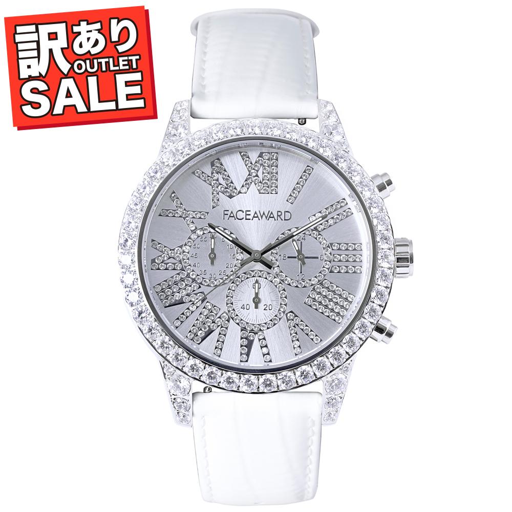 (50%OFF)(半額セール) 訳ありセール わけあり 腕時計 スワロフスキー フェイスアワード Diaz ステンレス ホワイト
