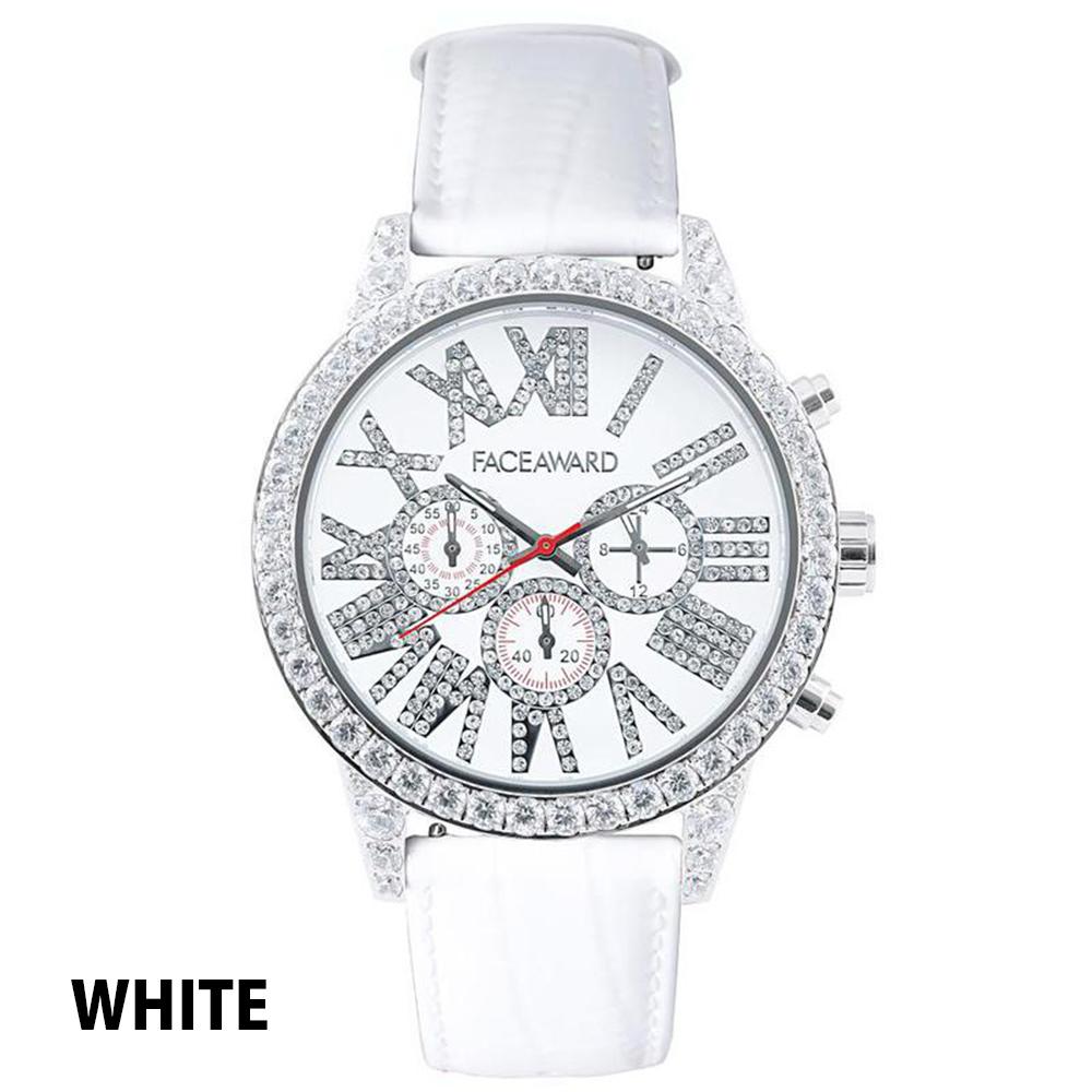 (50%OFF)(半額セール) 訳ありセール わけあり 腕時計 スワロフスキー フェイスアワード Diaz ステンレス レッド