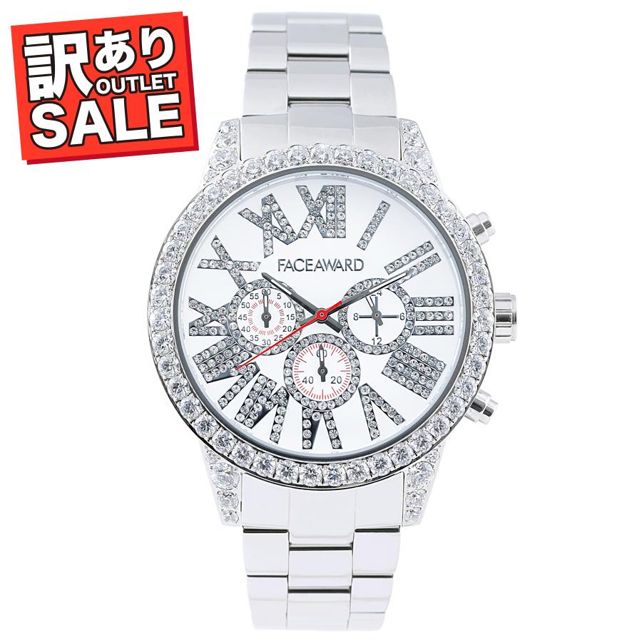 (50%OFF)(半額セール) 訳ありセール わけあり 腕時計 スワロフスキー フェイスアワード Diaz ステンレス シルバー