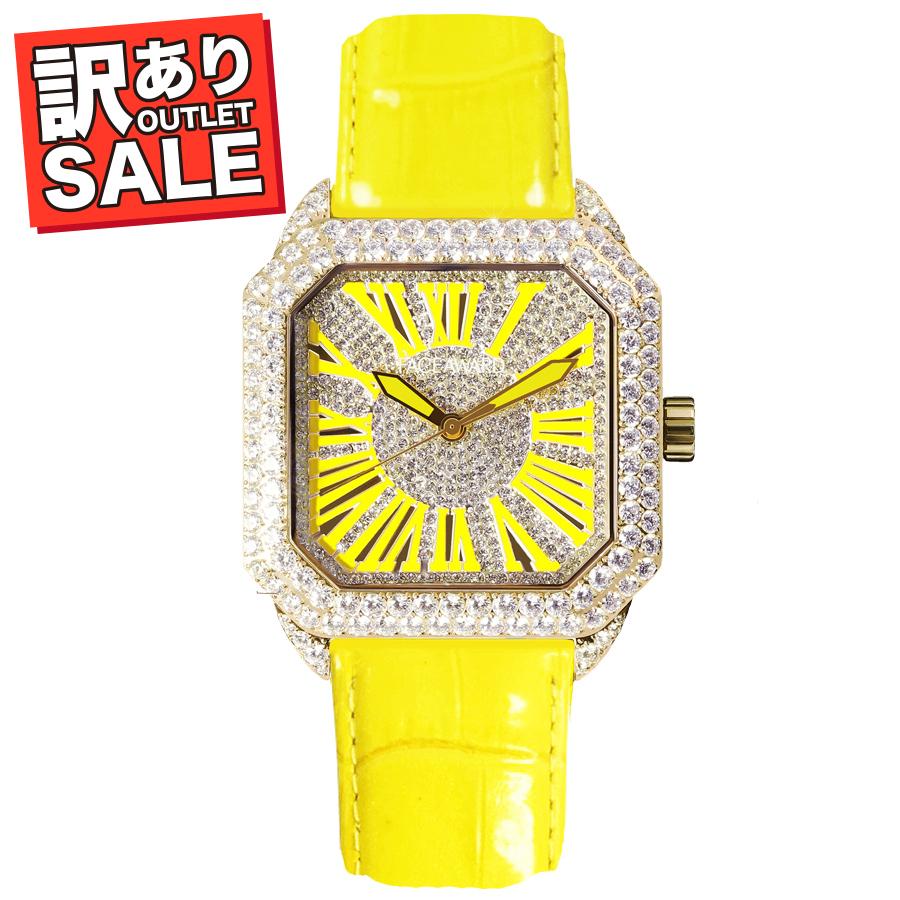 (50%OFF)(半額セール) 訳ありセール わけあり 腕時計 レディース スワロフスキー フェイスアワード Bardot Octagon イエロー
