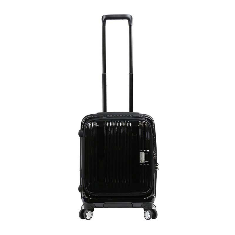 【全商品ポイント10倍】 BERMAS EURO CITY ユーロシティ 4輪 フロントオープン スーツケース ハードキャリー ファスナータイプ 38L 機内持込 TSAロック付 ブラック 6029010