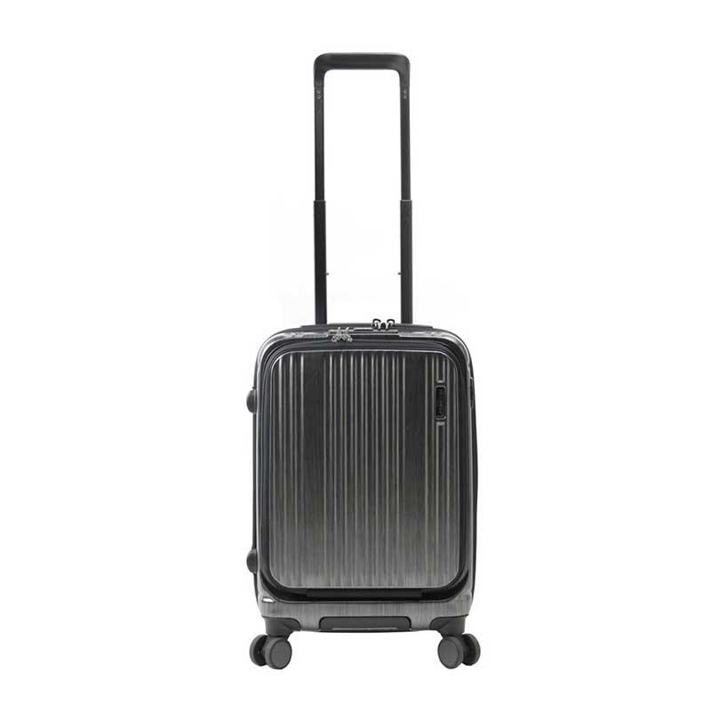 【全商品ポイント10倍】 BERMAS INTER CITY バーマス インターシティー フロントオープン スーツケース ハードキャリー 35L 機内持込 TSAロック 4輪 ブラックヘアライン 6050071