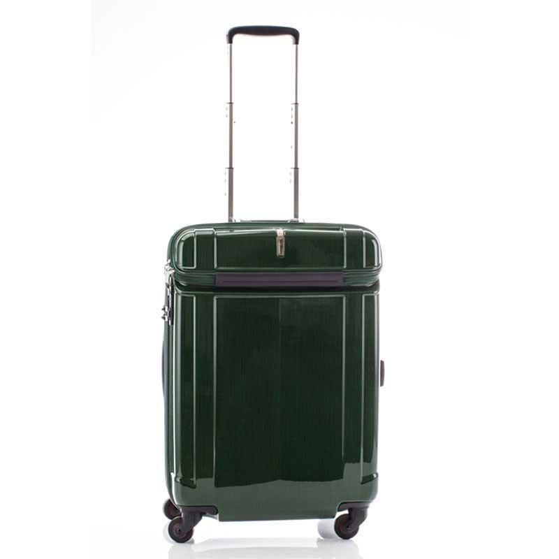 【全商品ポイント10倍】 HIDEO WAKAMATSU ヒデオワカマツ シェルパー トップオープン スーツケース M ハードキャリー TSA 59L グリーン 85-76350-GR