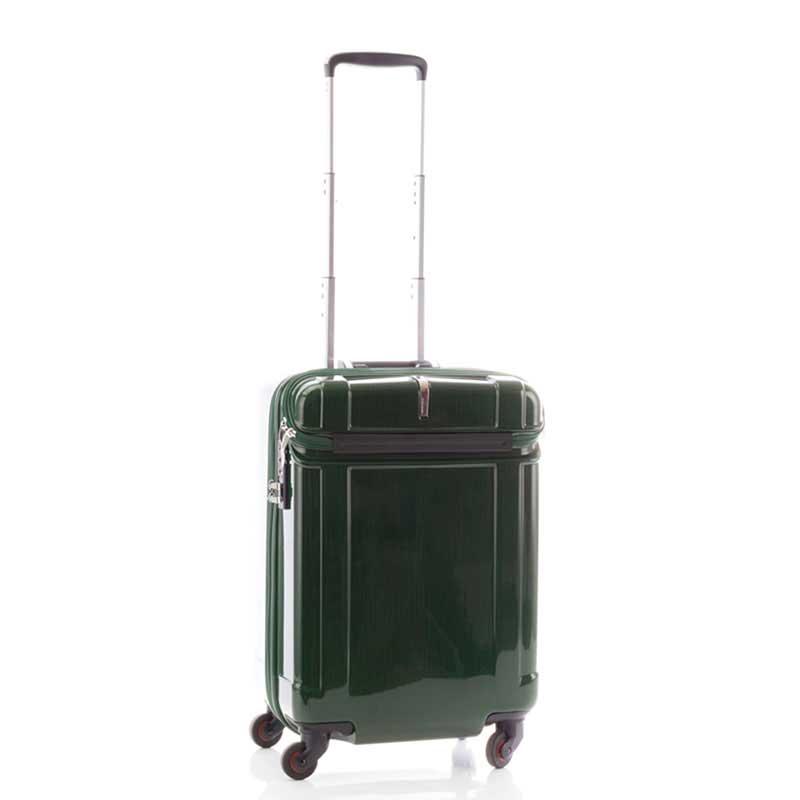 【全商品ポイント10倍】 HIDEO WAKAMATSU ヒデオワカマツ シェルパー トップオープン スーツケース S ハードキャリー TSA 39L グリーン 85-76340-GR