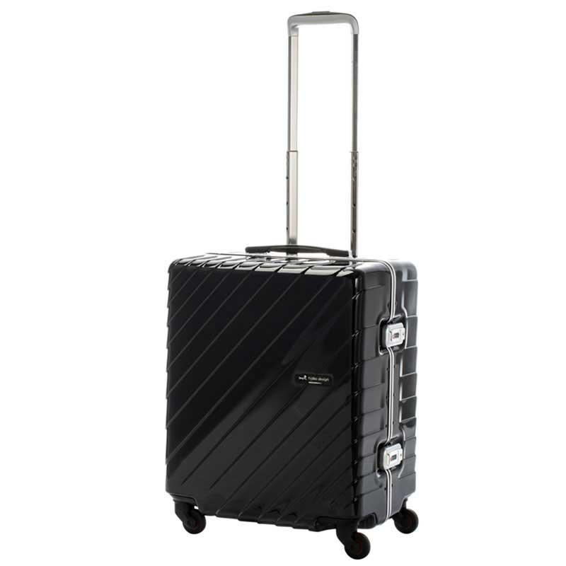 【ポイント10倍 クーポン配布中】 HIDEO WAKAMATSU ヒデオワカマツ ナロースクエア 超軽量 スーツケース M ハードキャリー TSA 55L ブラック 85-76520-BK