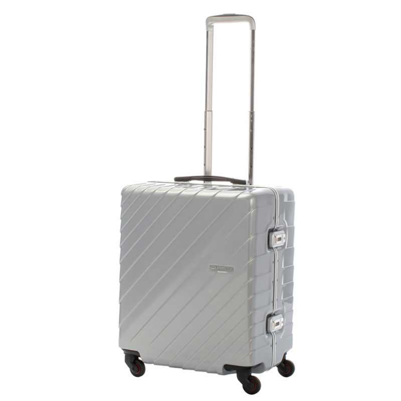 【全商品ポイント10倍】 HIDEO WAKAMATSU ヒデオワカマツ ナロースクエア 超軽量 スーツケース M ハードキャリー TSA 55L シルバー 85-76520-SV