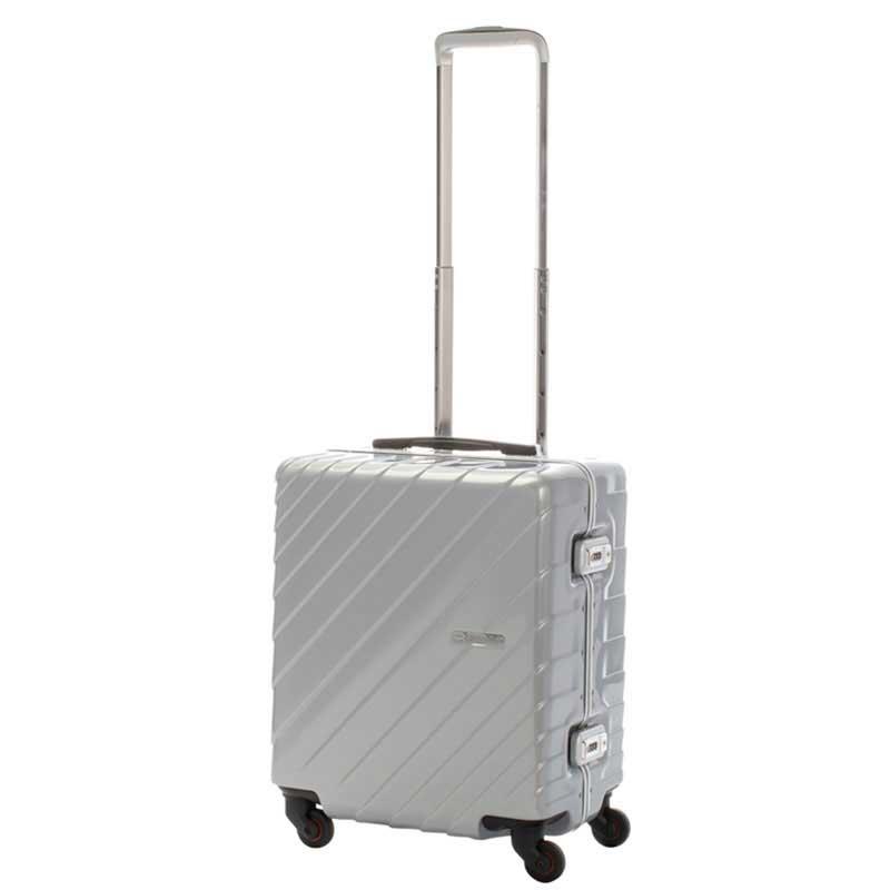 【全商品ポイント10倍】 HIDEO WAKAMATSU ヒデオワカマツ ナロースクエア 超軽量 スーツケース S ハードキャリー TSA 40L シルバー 85-76510-SV