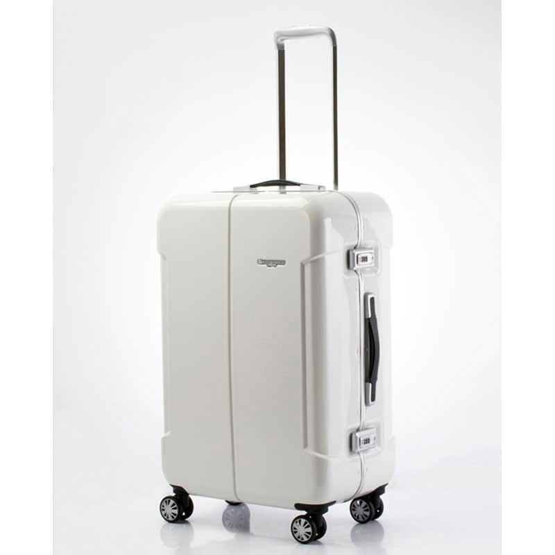 【全商品ポイント10倍】 HIDEO WAKAMATSU ヒデオワカマツ ナローII 超軽量 スーツケース L ハードキャリー TSA 64L ホワイト 85-76370-WH