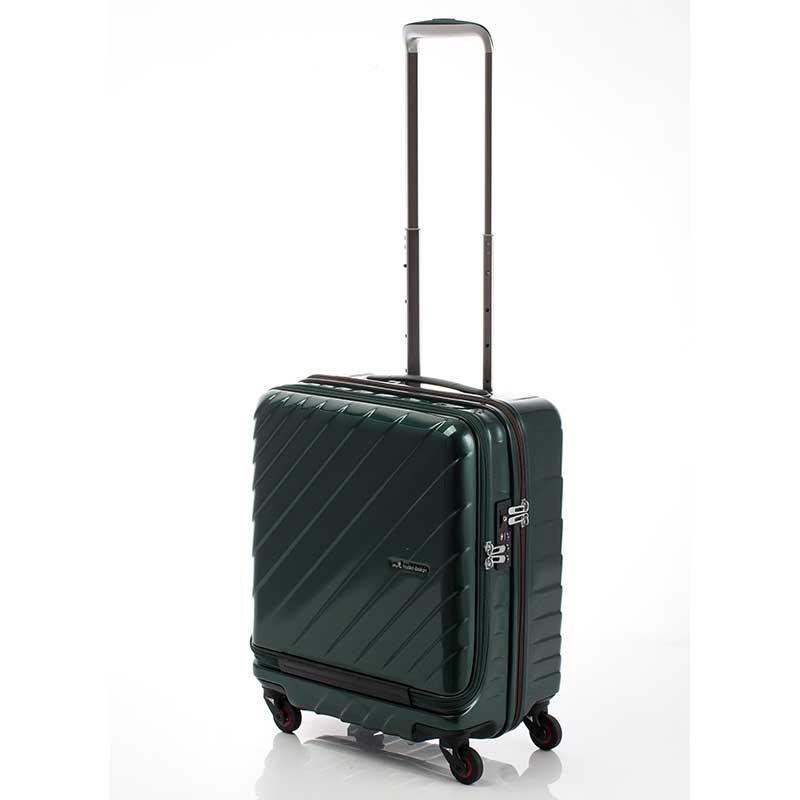 【全商品ポイント10倍】 HIDEO WAKAMATSU ヒデオワカマツ マックスキャビン ウェーブ2 スーツケース ハードキャリー TSA 42L 機内持ち込み 適合 グリーン 85-76570-GR