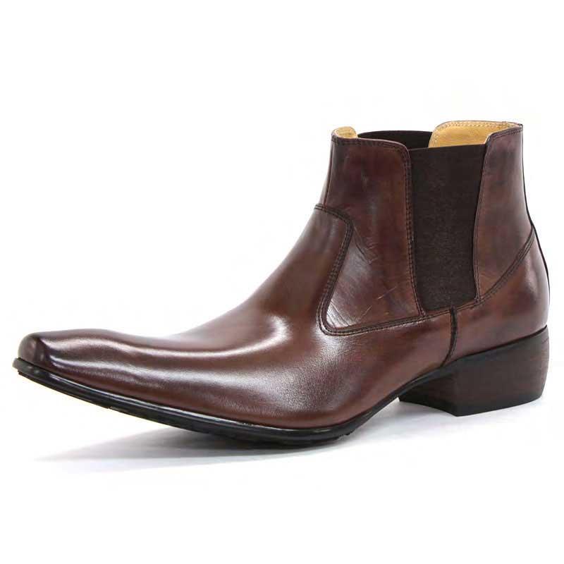 【全商品ポイント10倍】 SARABANDE サラバンド バッファローレザー サイドゴア ブーツ 25.0cm 40サイズ ブラウン 1394-BR-40