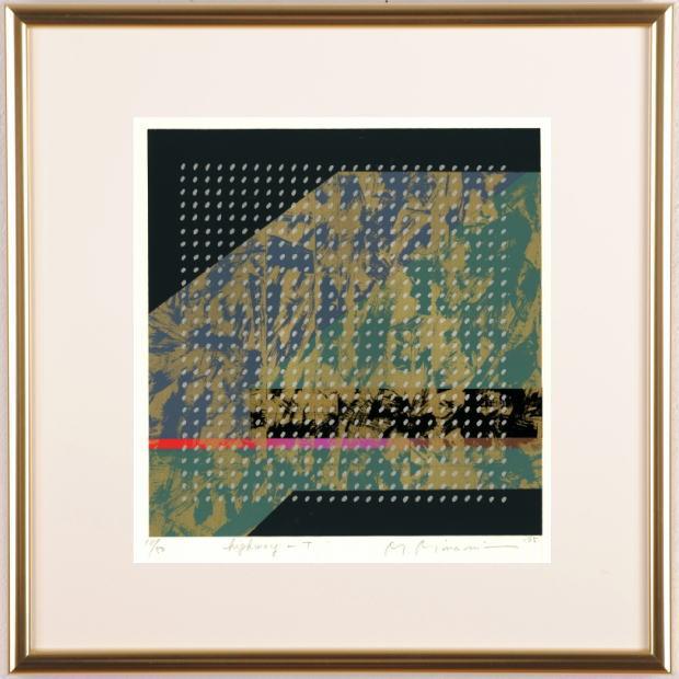 南正雄先生がシルクスクリーンの版画で制作した和モダンの抽象画 ハイウェイ サービス T は 1995年に制作された抽象画のシルクスクリーンです 作品名 作家名 南正雄 T 贈呈